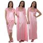 4 Pcs Satin Nightwear In Baby Pink - Robe, Nightie, Top, Capri