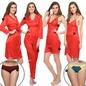 8 Pcs Satin Nightwear In Red