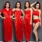6 Pcs Satin Nightwear In Red - Nightie, Robe, Top, Pyjama, Crop Cami & High Waist Brief
