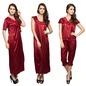 4-Piece Satin Nightwear In Maroon