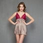 Satin Babydoll With Contrast Lace Cups - Grey