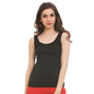 Black Cotton Camisole With Scooped Neck