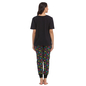 Black Cotton Spandex T-shirt & Pyjama Set With Funky Skull Print