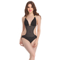 Black Polyamide Monokini Swimsuit With Jacquard Stripes