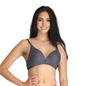 Cotton Non-Padded Non-Wired Demi Cup Bra in Denim Look - Grey