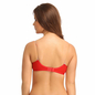 Cotton Non Padded Wirefree Demi Cup Bra With Detachable Transparent Straps - Red