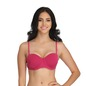 Underwired Padded Push-up Balconette Bra with Detachable Straps - Pink