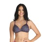 Printed Padded Non-Wired Demi Cup Bra - Purple