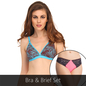 Bra And Panty Set In Blue & Pink