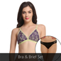 Bra And Thong Set In Light Green & Black