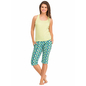 Cotton Camisole With Racer Back & Printed Capri - Green