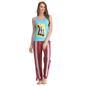 Cotton Crepe Racer Back T-shirt & Pyjamas In Blue & Pink