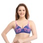 Cotton Floral Print Padded Non-Wired T-Shirt Bra with Detachable Straps - Blue