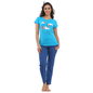Cotton Graphic T-Shirt & FulL Length Pyjama - Blue