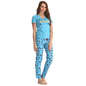 Cotton Graphic T-shirt & Printed Pyjama In Blue