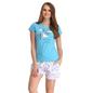 Cotton Graphic T-shirt & Printed Pyjamas In Blue & White