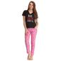 Cotton Graphic T-shirt & Printed Pyjamas In Black & Pink