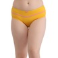 Cotton High Waist Hipster With Contrast Bow- Yellow