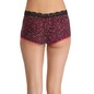 Cotton High Waist Printed Boyshort With Lace - Black