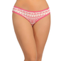 Cotton Mid Waist Bikini With Lace Waist Band - Pink