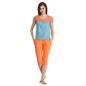 Cotton Lace Panel Top & Capri Nightwear - Blue