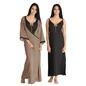 Cotton Long Nightie & Printed Robe Set - Black