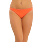 Cotton Low Waist Bikini With Contrast Overlock Design - Orange