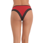 Cotton Spandex Bikini In Maroon With Contrast Lacy Trims