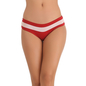 Cotton Spandex Bikini In Maroon With Contrast Powernet Waist