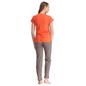 Cotton Spandex T-shirt Pyjama Set In Orange & Beige