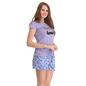 Cotton Spandex T-shirt & Shorts In Purple & Blue