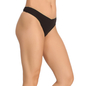 Cotton Spandex Thong In Black With Contrast Trimmed Elastic