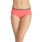 Cotton Mid-Waist Bikini With Contrast Band - Pink