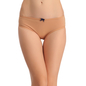 Cotton Mid Waist Bikini With Contrast Bow At Centre - Skin