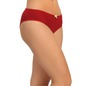 Cotton Mid Waist Bikini With Contrast Bow At Centre - Maroon