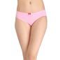 Cotton Mid Waist Bikini With Contrast Dot Print Bow - Pink