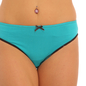 Cotton Mid Waist Bikini With Contrast Elastic Band - Blue