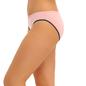 Cotton Mid Waist Bikini With Contrast Elastic Band - Pink