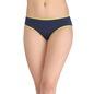Cotton Mid Waist Bikini With Contrast Elastic - Blue
