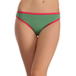 Cotton Mid Waist Bikini With Contrast Elastic Trims - Green