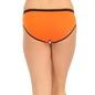Cotton Mid Waist Bikini With Contrast Elastic Waistband - Orange