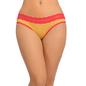 Cotton Mid Waist Bikini With Contrast Lace At Waist - Yellow