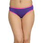 Cotton Mid Waist Bikini With Contrast Elastic - Purple