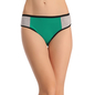 Cotton Mid Waist Bikini With Contrast Waist Band - Green