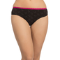 Cotton Mid Waist Bikini With Contrast Waist - Black