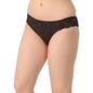 Cotton Mid Waist Bikini With Lace Sides - Black