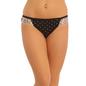 Cotton Mid Waist Bikini With Lace Wings - Black