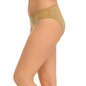 Cotton Mid Waist Bikini With Powernet Sides - Brown