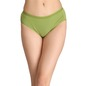 Cotton Mid-Waist Bikini with Shiny Elastic Band - Green