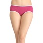Cotton Mid-Waist Printed Hipster with Contrast Lace Trim - Pink